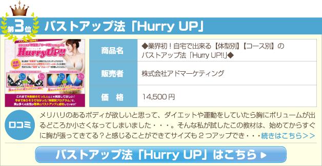 ◆業界初!自宅で出来る【体型別】【コース別】のバストアップ法「Hurry UP!!」◆